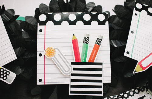 Schoolgirl Style - Black, White and Stylish Brights Notebook Paper and Pencils Cut-Outs