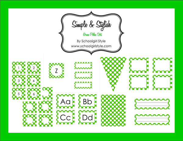 Green & White Polka Dots