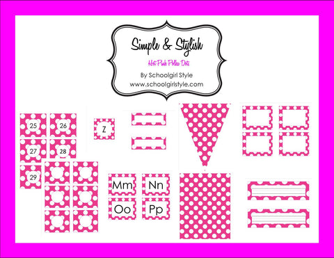 Hot Pink & White Polka Dots