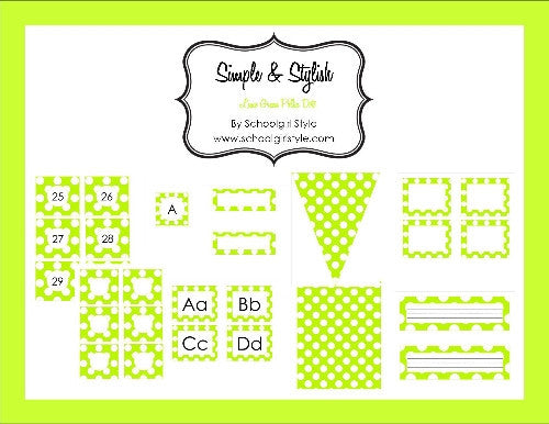 Lime Green & White Polka Dots