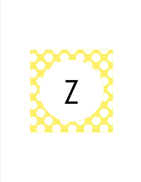 Yellow & White Polka Dots