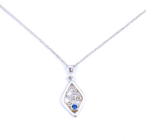 Diamond-shaped Filigree Pendant with lab-created blue sapphire