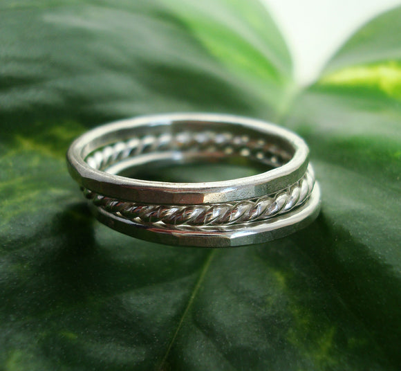 Hammered and Twisted Stacking Rings - Set of 3