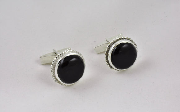 Black Petrified Wood Cufflinks