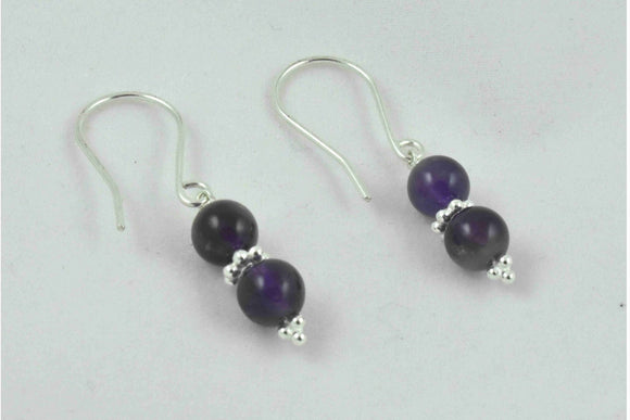 Amethyst Bead Drop Earrings