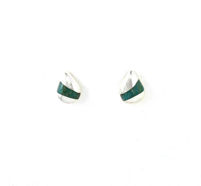 Front view of Foxtrot Post Earrings with Amazonite Gemstone Inlay