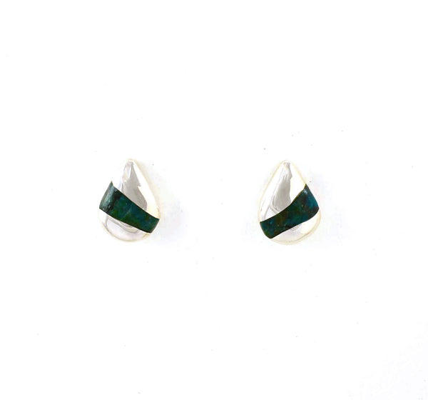 Front view of Foxtrot Post Earrings with Chrysocolla Gemstone Inlay