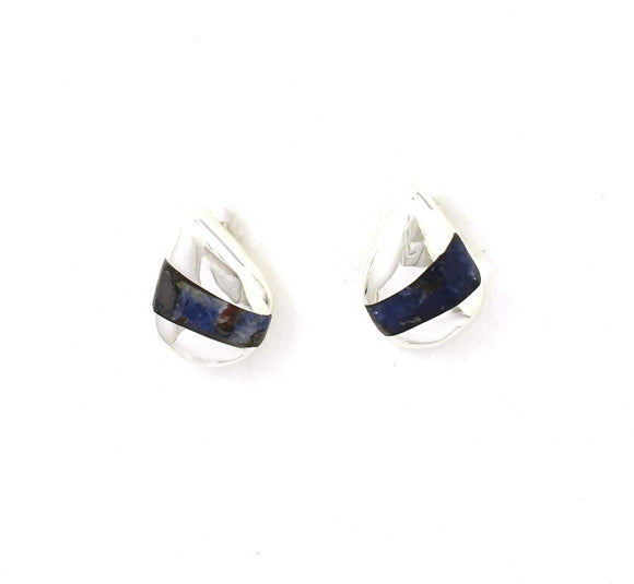Front view of sterling silver sodalite foxtrot stud earrings