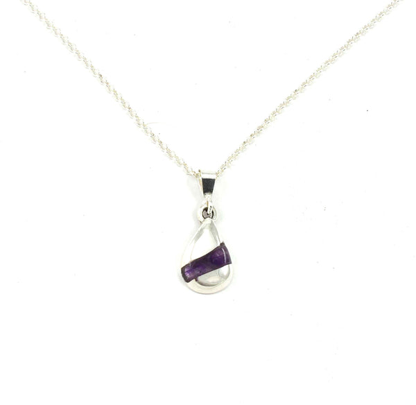 Front view of Foxtrot Pendant with Amethyst Gemstone Inlay