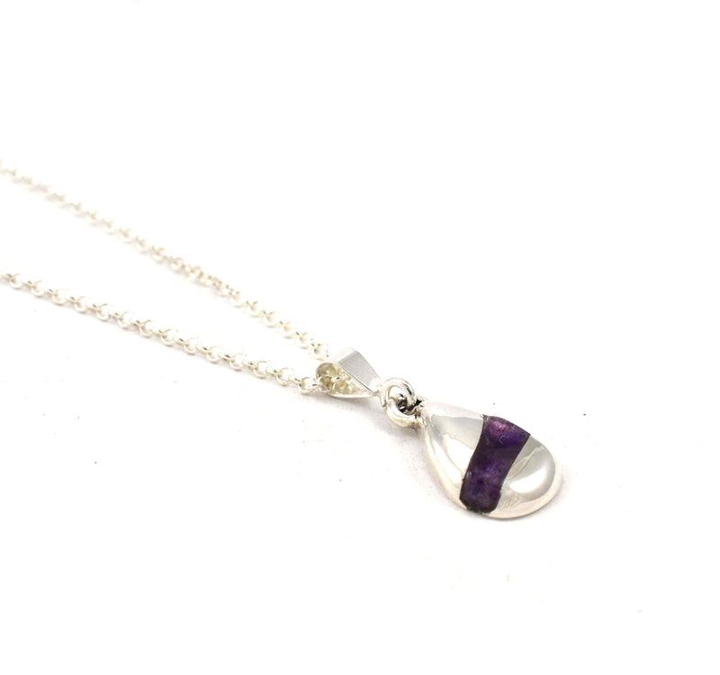 Left side view of Foxtrot Pendant with Amethyst Gemstone Inlay