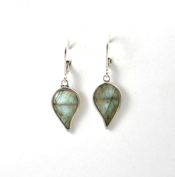 Front of labradorite inlay earrings shaped like leaves.  Sterling silver.