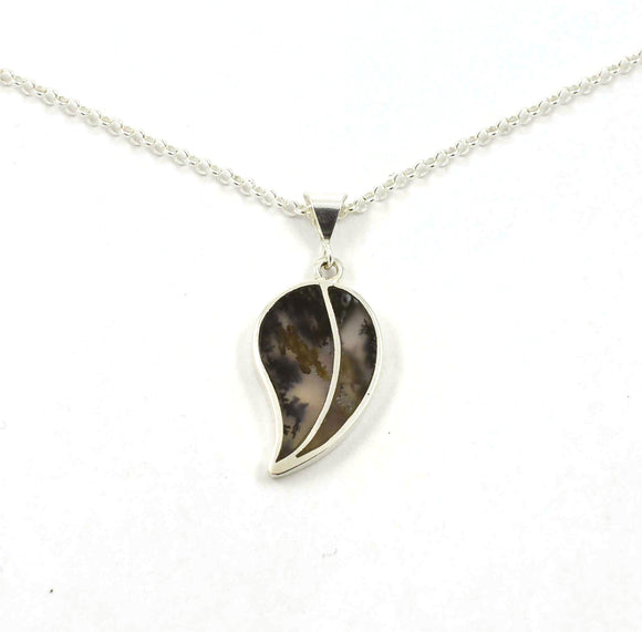 Front of Dendritic Agate inlay pendant in the shape of a leaf.  Sterling silver