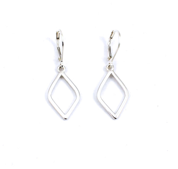 Front view of sterling silver rumba earrings