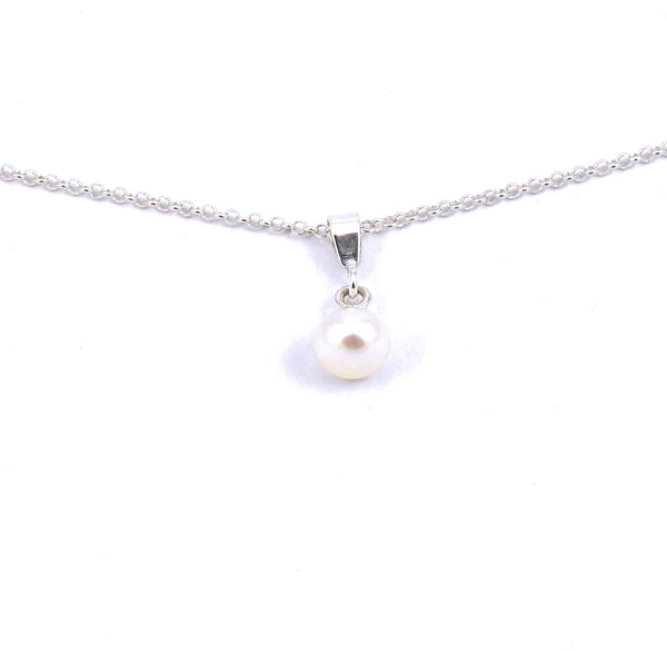 Sterling silver white freshwater pearl drop necklace