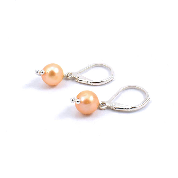 Rear view of champagne freshwater pearl drop earrings
