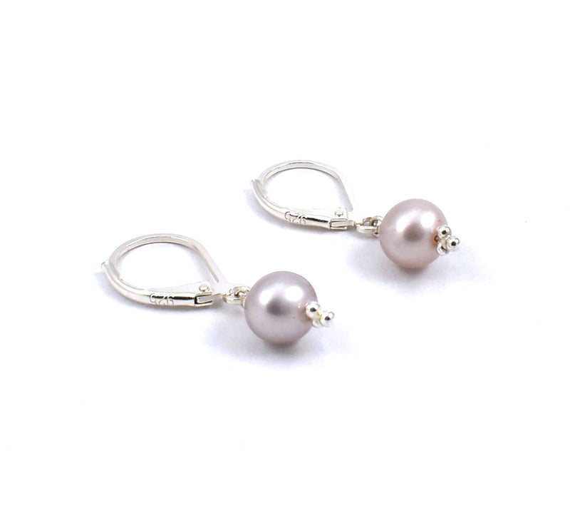 Sterling silver dusty rose freshwater pearl drop earrings