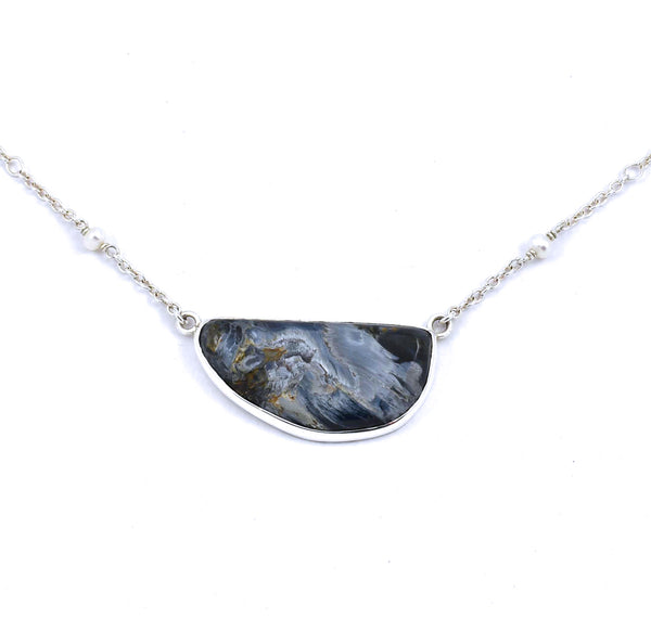 Front view of sterling silver pietersite necklace with white freshwater pearl accents