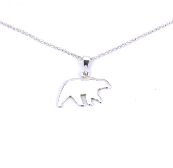 Rear view of sterling silver solid bear pendant