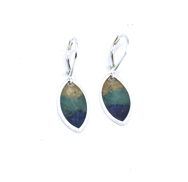 Front view of sterling silver sunrise marquise earrings with gemstone inlay