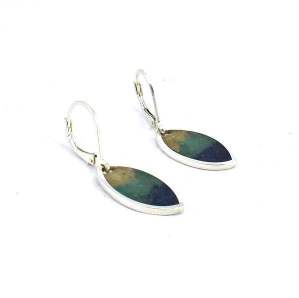 Left side view of sterling silver sunrise marquise earrings with gemstone inlay