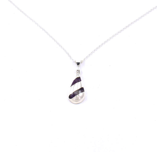 Front view of Toddle Pendant with Amethyst Gemstone Inlay