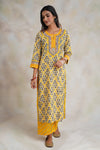 Rozana Kurta Set Yellow Grey (Set of 3)