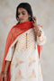 Yoke Kurta Set Cream Orange (Set of 3)