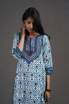 White Blue Embroidered Yoke Kurta