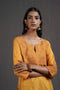 Mustard Embroidered Yoke Kurta