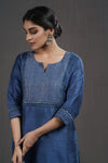 Indigo Embroidered Yoke Silk Kurta