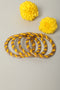 Yellow Golden Lehariya Lac Bangles (Set of 4)