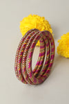 Pink Golden Lac Bangles (Set of 4)