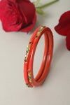 Orange Lac Bangles (Set of 2)