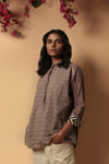 Grey Maroon Loose Fit Collar Kurti
