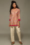 Beige Pink Collar Pleated Kurti