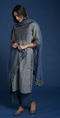 Seri Steel Blue Grey Embroidered Kurta