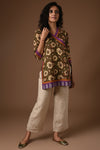 Brown Mauve Side Dori Cotton Kurti
