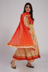 Orange Cotton/Chiffon Dupatta (6543151693871)