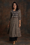 Afreen Ajrakh Kurta Cream Black