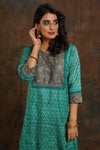 Yoke Silk Kurta Sea Green