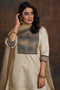 Yoke Silk Kurta Cream