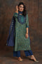 Yoke Embroidered Kurta - Indigo Green
