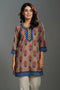 Tan Blue Rozana Short Kurti