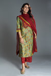 Seri Green Rust Embroidered Kurta