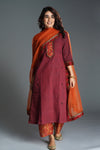 Rozana Embroidered Rust Maroon Kurta