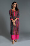 Embroidered Deep Blue Pink Kurta
