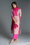 Collar Cream Pink Kurta