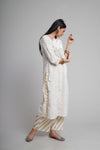 Cream White Gold Kurta