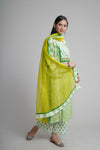 Green White Embroidered Kurta