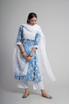 Afreen Blue White Kurta